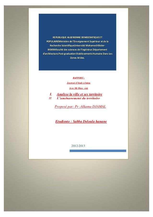 REPUBLIQUE ALGERIENNE DEMOCRATIQUE ETPOPULAIREMinistère de lEnseignement Supérieur et de laRecherche ScientifiqueUniversit...