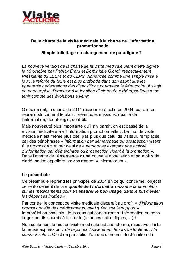 De la charte de la visite médicale à la charte de l'information  promotionnelle  Simple toilettage ou changement de paradi...
