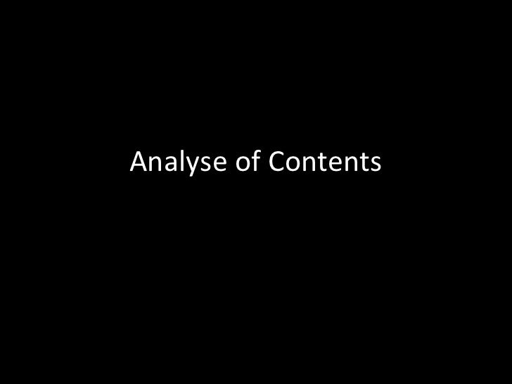 Analyse of Contents <br />