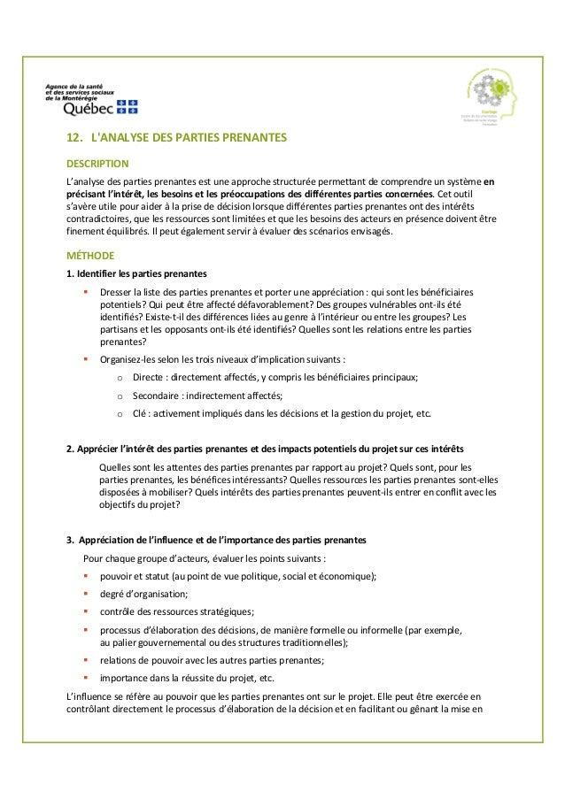 1. 2. 12. L'ANALYSE DES PARTIES PRENANTES DESCRIPTION L'analyse des parties prenantes est une approche structurée permetta...