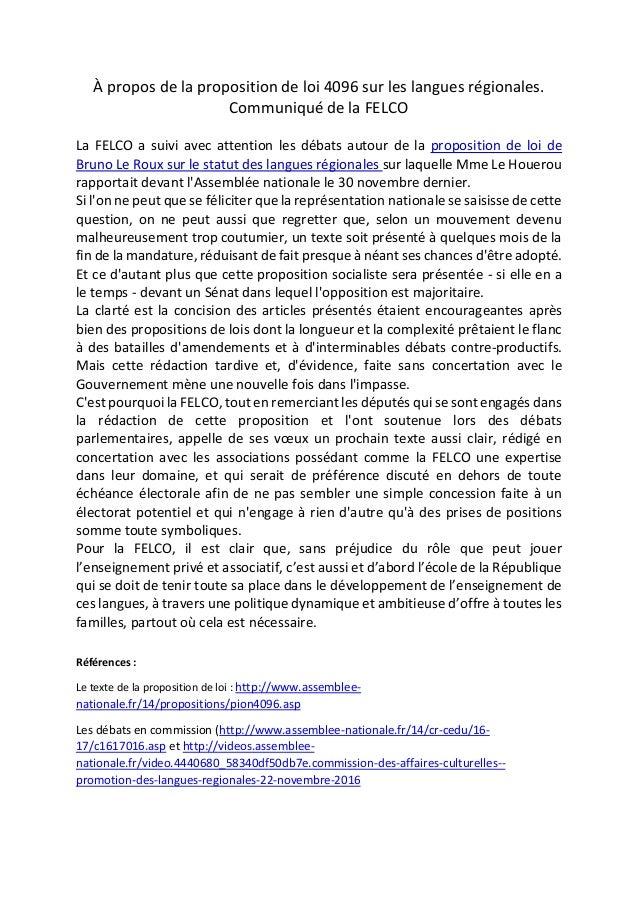 À propos de la proposition de loi 4096 sur les langues régionales. Communiqué de la FELCO La FELCO a suivi avec attention ...