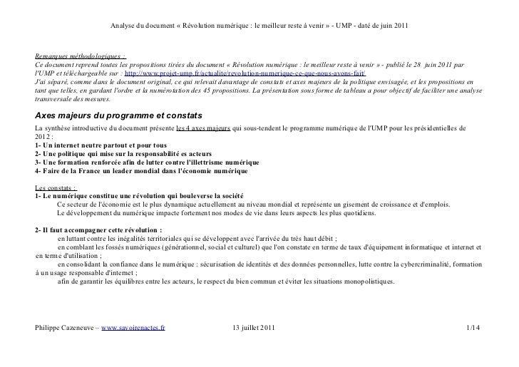 Analyse du document « Révolution numérique : le meilleur reste à venir » - UMP - daté de juin 2011Remarques méthodologique...