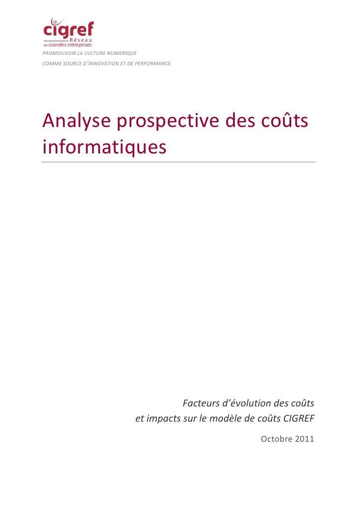 PROMOUVOIR LA CULTURE NUMERIQUECOMME SOURCE D'INNOVATION ET DE PERFORMANCEAnalyse prospective des coûtsinformatiques      ...