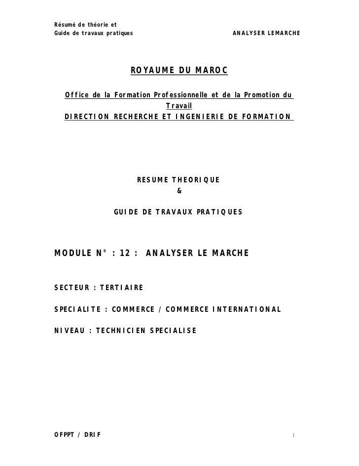 Résumé de théorie etGuide de travaux pratiques                      ANALYSER LEMARCHE                         ROYAUME DU M...