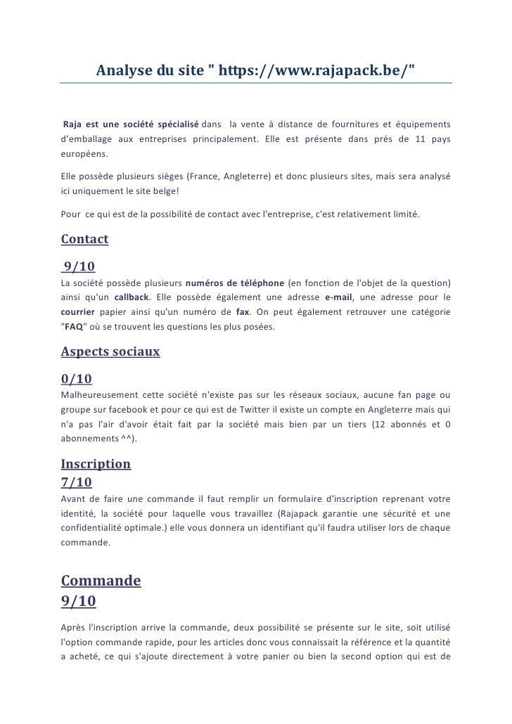 """Analyse du site """" https://www.rajapack.be/""""<br />Raja est une société spécialisédans  la vente à distance de fournitures..."""