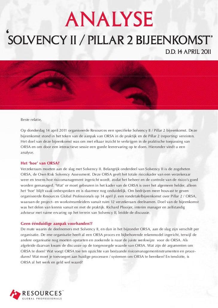analyse'solvency ii / pillar 2 bijeenkomst'                                                    d.d. 14 april 2011  Beste r...