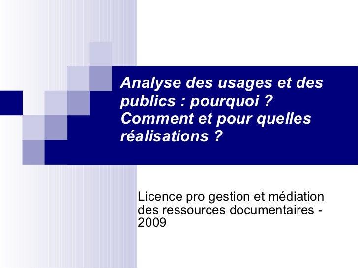 Analyse des usages et des publics : pourquoi ? Comment et pour quelles réalisations ? <ul><ul><li>Licence pro gestion et m...