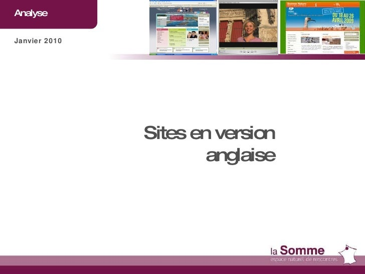 Analyse  Janvier 2010 Sites en version anglaise