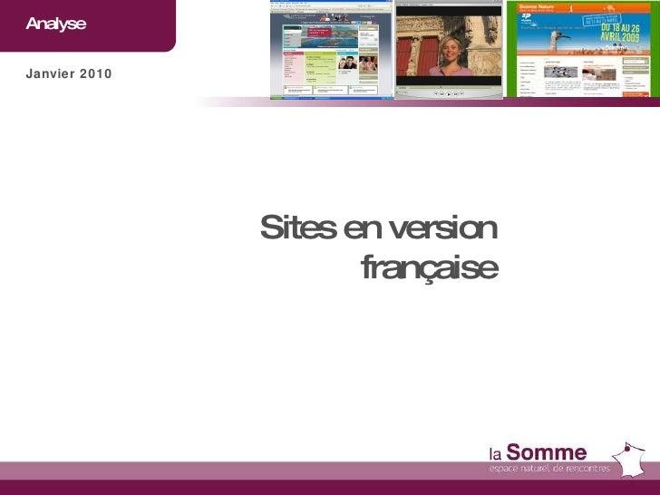 Analyse  Janvier 2010 Sites en version française