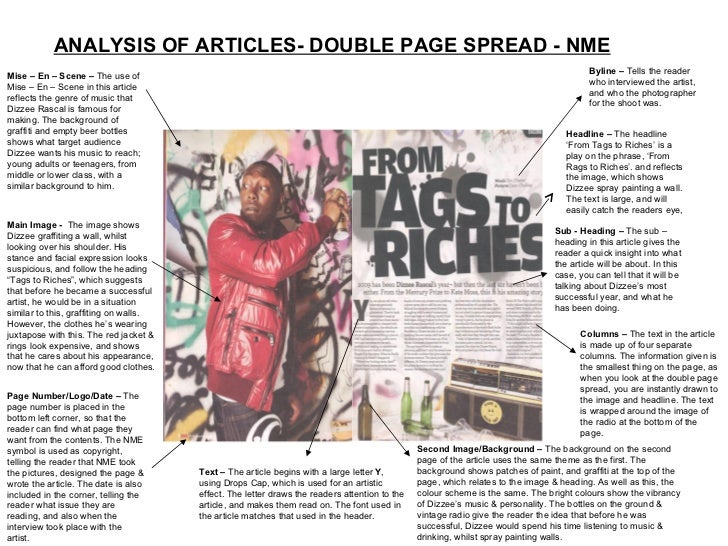 ANALYSIS OF ARTICLES- DOUBLE PAGE SPREAD - NME Mise – En – Scene –  The use of Mise – En – Scene in this article reflects ...