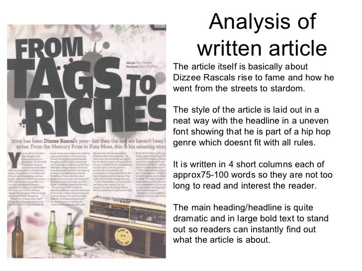 Analysing Magazine Articles
