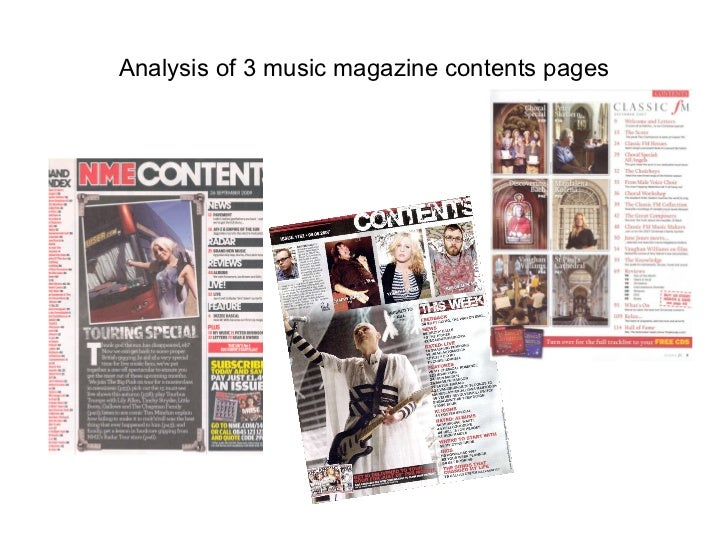 Analysis of 3 music magazine contents pages