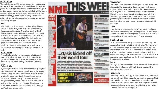Main Image The main image on this contents page is of a extremely famous rock band Oasis at there world tour. By having a ...