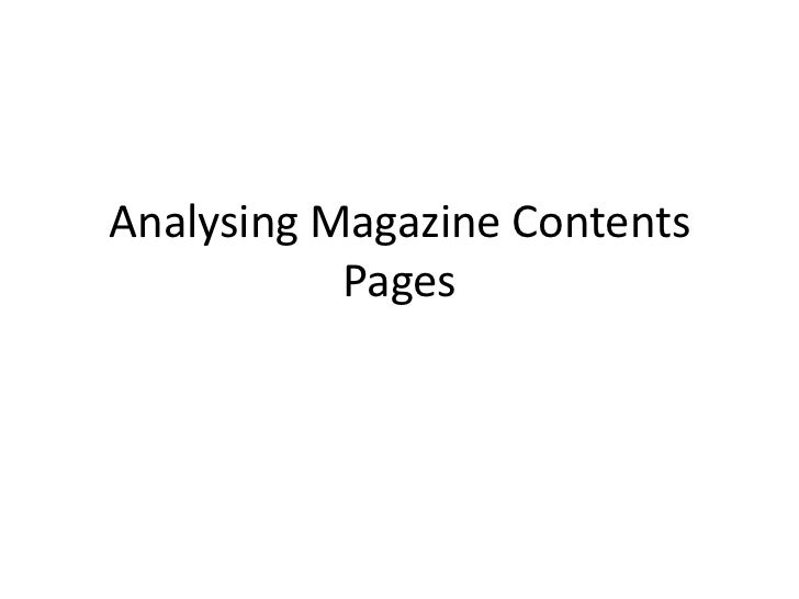 Analysing Magazine Contents           Pages