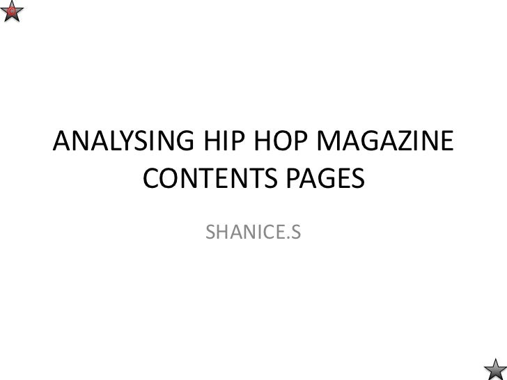 ©    ANALYSING HIP HOP MAGAZINE          CONTENTS PAGES             SHANICE.S
