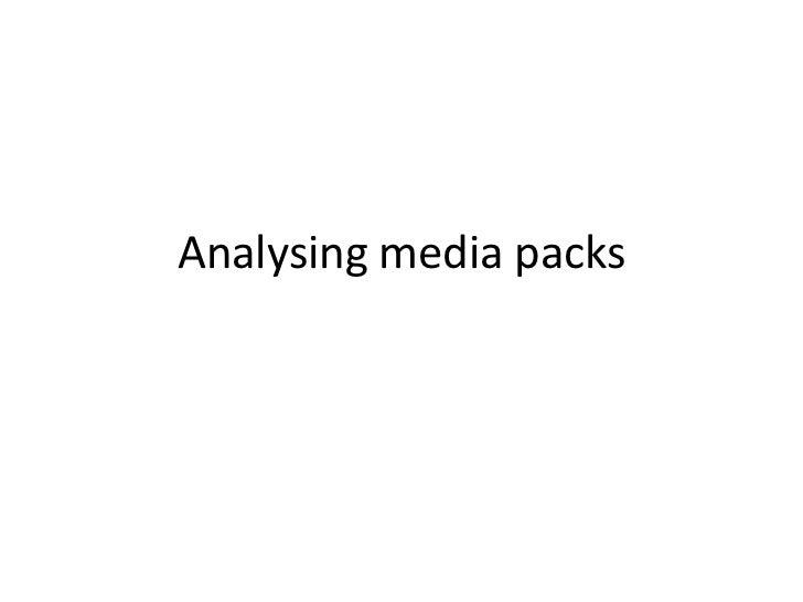 Analysing media packs