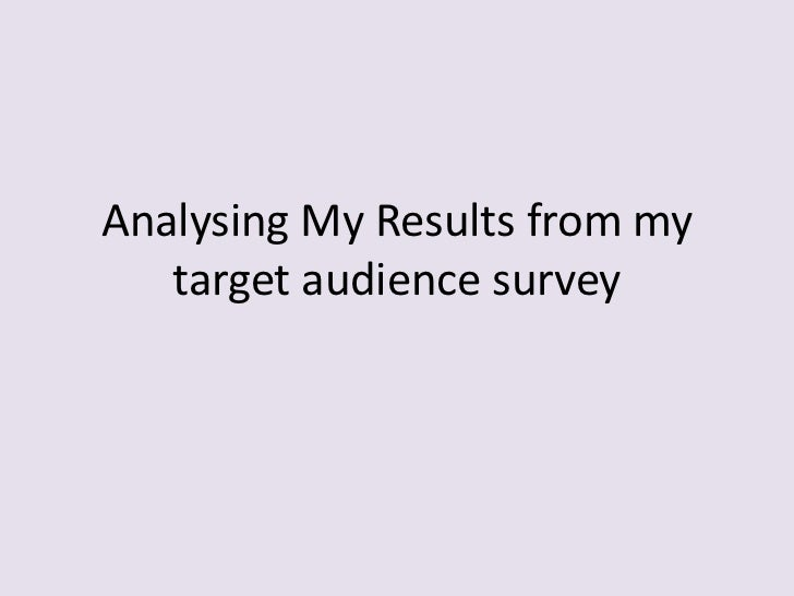 Analysing My Results from my   target audience survey