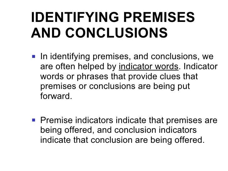 Premise Indicator Words: Analysis : Persuasive Discourse