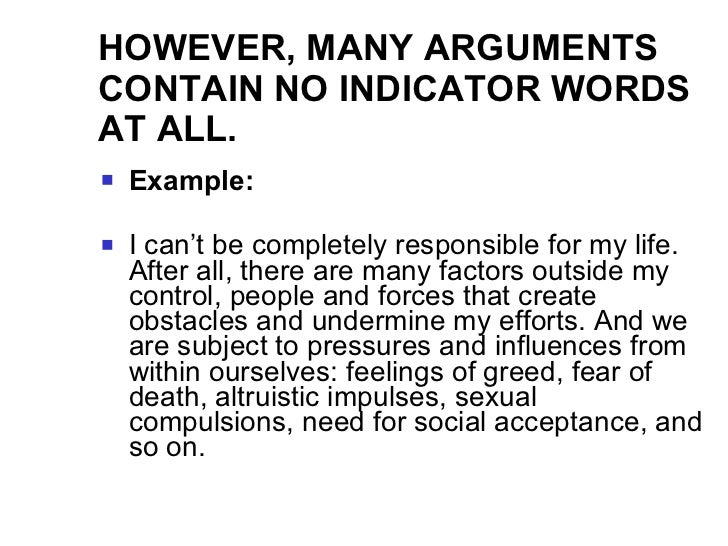 Premise Indicator Words: Intro To Arguments