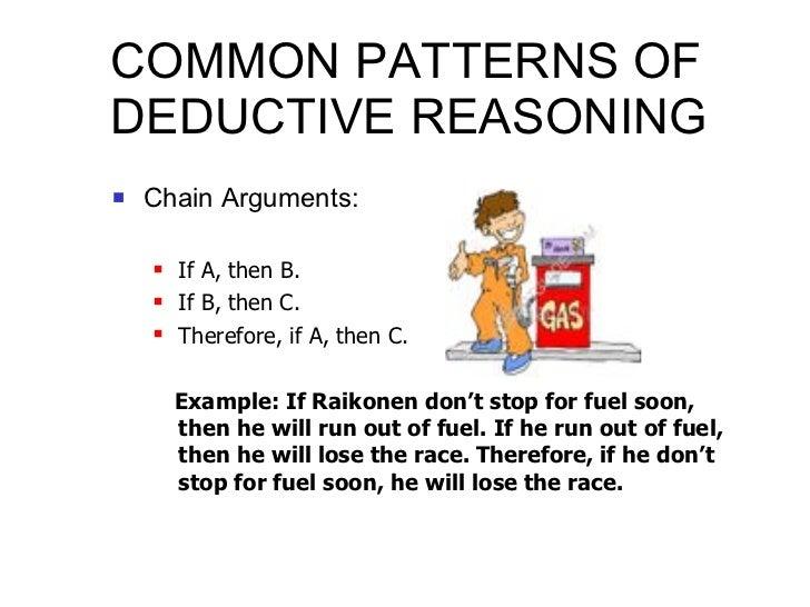 COMMON PATTERNS OF DEDUCTIVE REASONING <ul><li>Chain Arguments: </li></ul><ul><ul><li>If A, then B. </li></ul></ul><ul><ul...