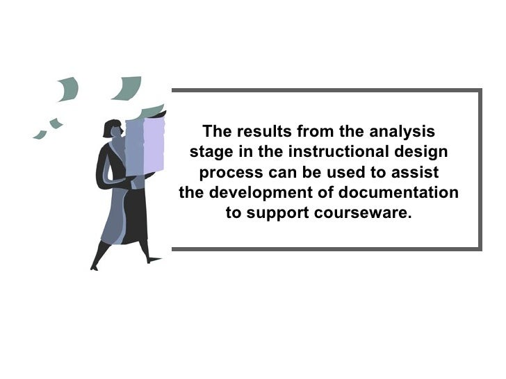 The results from the analysis stage in the instructional design process can be used to assist the development of documenta...