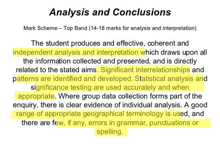 Analysis and Conclusions Mark Scheme – Top Band (14-18 marks for analysis and interpretation) The student produces and eff...