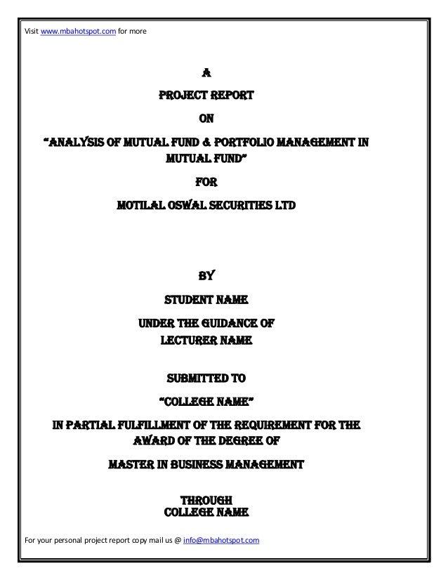 Analysis of-mutual-fund-portfolio-management-mutual fund