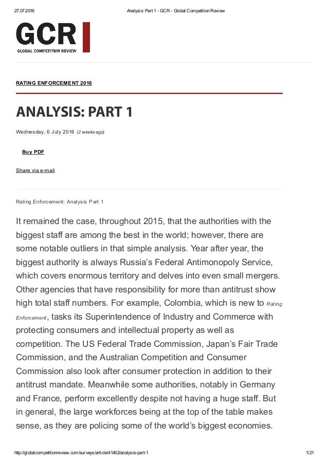 27.07.2016 Analysis: Part 1 ­ GCR ­ Global Competition Review http://globalcompetitionreview.com/surveys/article/41402/ana...