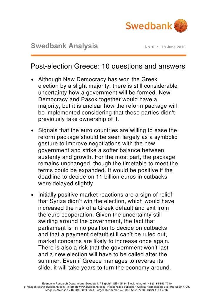 Swedbank Analysis                                                                No. 6  18 June 2012    Post-election Gre...