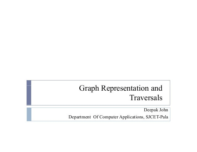 G h R i dGraph Representation and Traversals Deepak John Department Of Computer Applications, SJCET-Pala