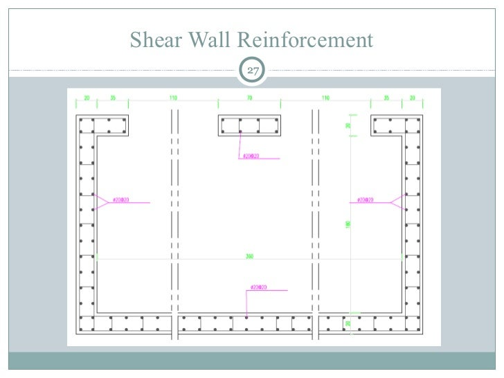 Reinforced Concrete Wall Design Example some examples of two directional bearingshear wall layouts Shear Wall Reinforcement 27
