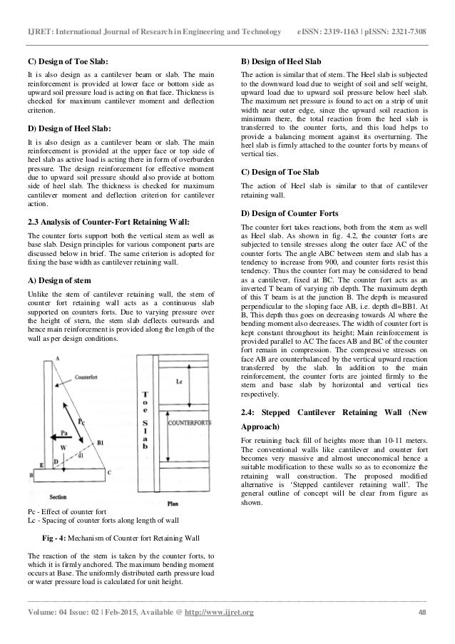 Analysis and design of reinforced concrete stepped cantilever retaini