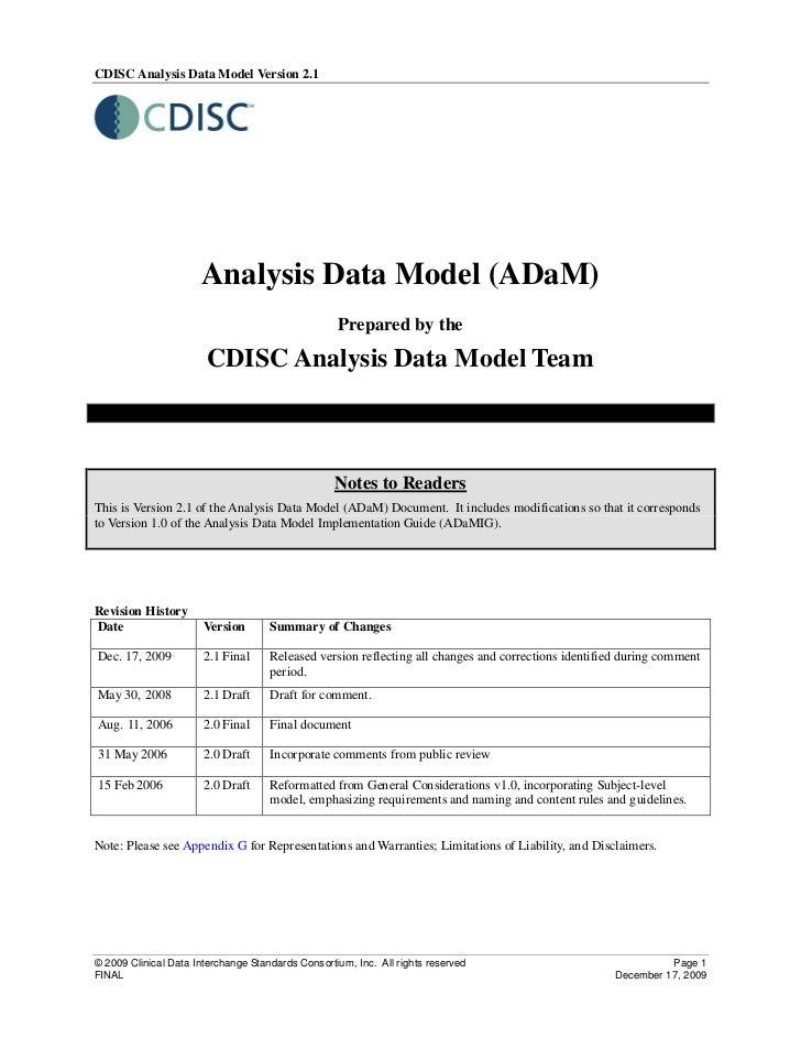 CDISC Analysis Data Model Version 2.1                      Analysis Data Model (ADaM)                                     ...