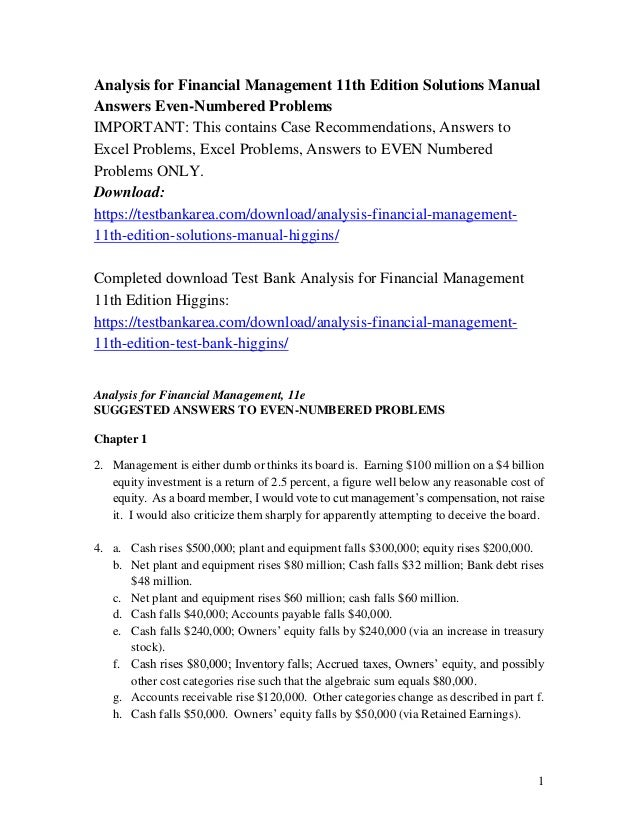 Analysis for financial management 11th edition solutions manual by hi….