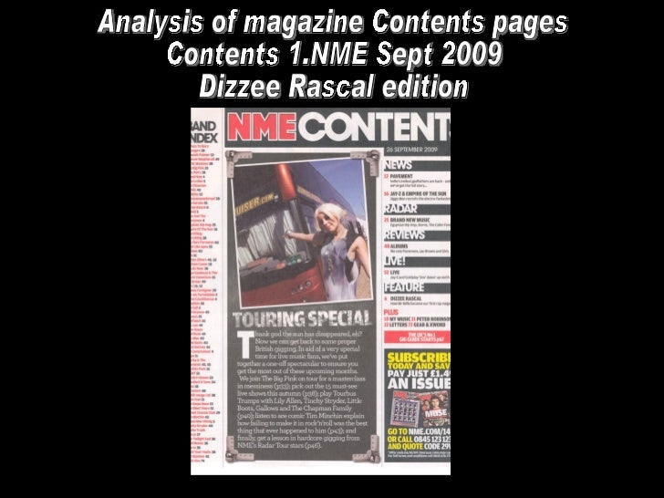 Analysis of magazine Contents pages Contents 1.NME Sept 2009  Dizzee Rascal edition