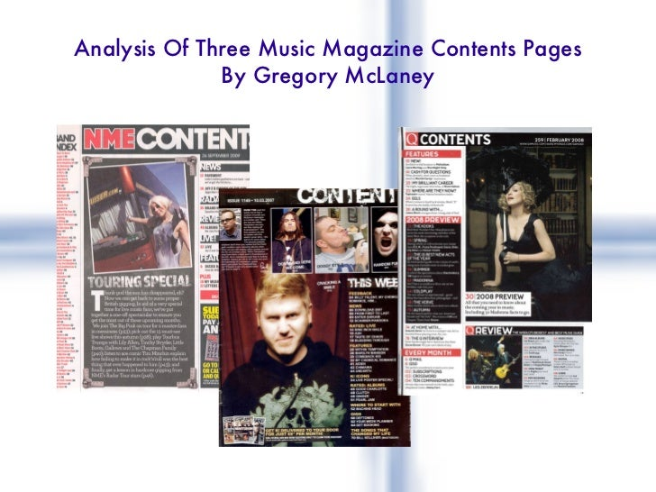 Analysis Of Three Music Magazine Contents Pages By Gregory McLaney