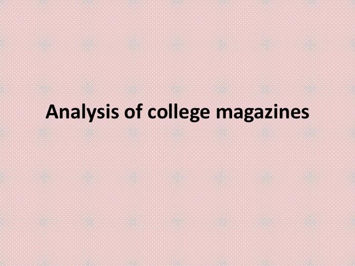 Analysis of college magazines
