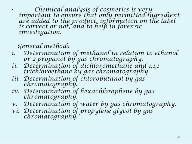 Analysis of cosmetics 112070804018