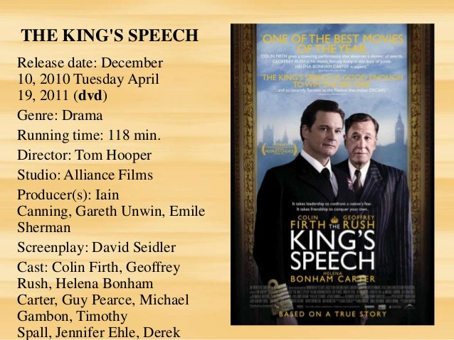 """analysis of the kings speech This four hundred and seven word speech inspired a nation to take action it even inspired a blockbuster film works cited king george vi """"king george vi addresses the nation"""" speech buckingham palace, london, england 3 sept 1939 the king's speech: royal broadcasts in the bbc archives bbc news, 17 dec 2010 web 5 oct 2013."""