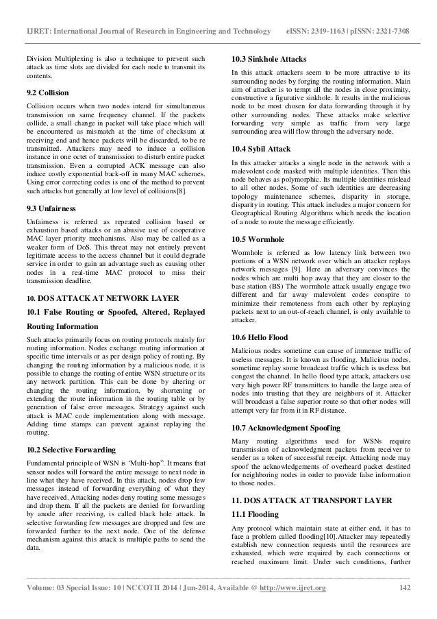Analysis of denial of service (dos) attacks in wireless sensor networks Slide 3