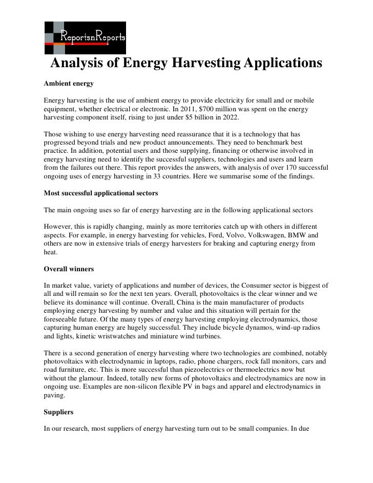 Analysis of Energy Harvesting ApplicationsAmbient energyEnergy harvesting is the use of ambient energy to provide electric...