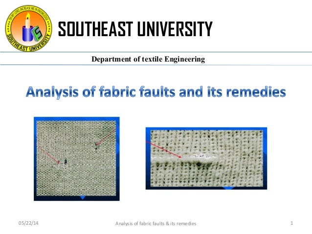 SOUTHEAST UNIVERSITY Department of textile Engineering 05/22/14 Analysis of fabric faults & its remedies 1