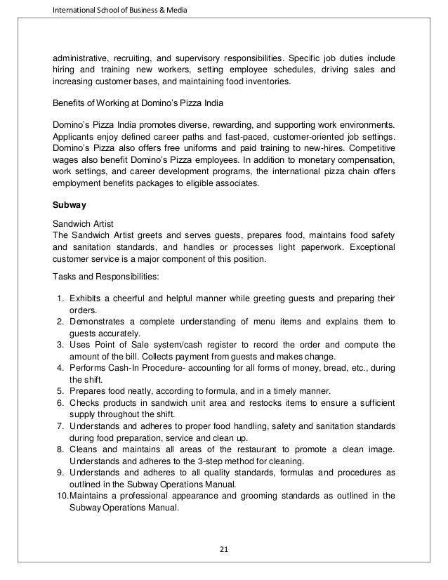 Subway Job Duties | Resume CV Cover Letter