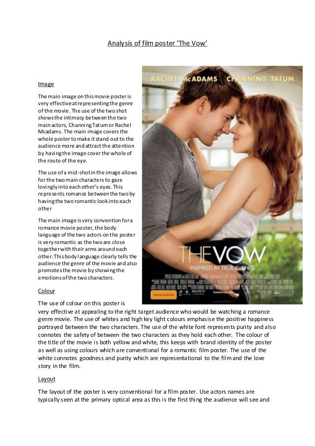 Analysis Of Film Poster The Vow