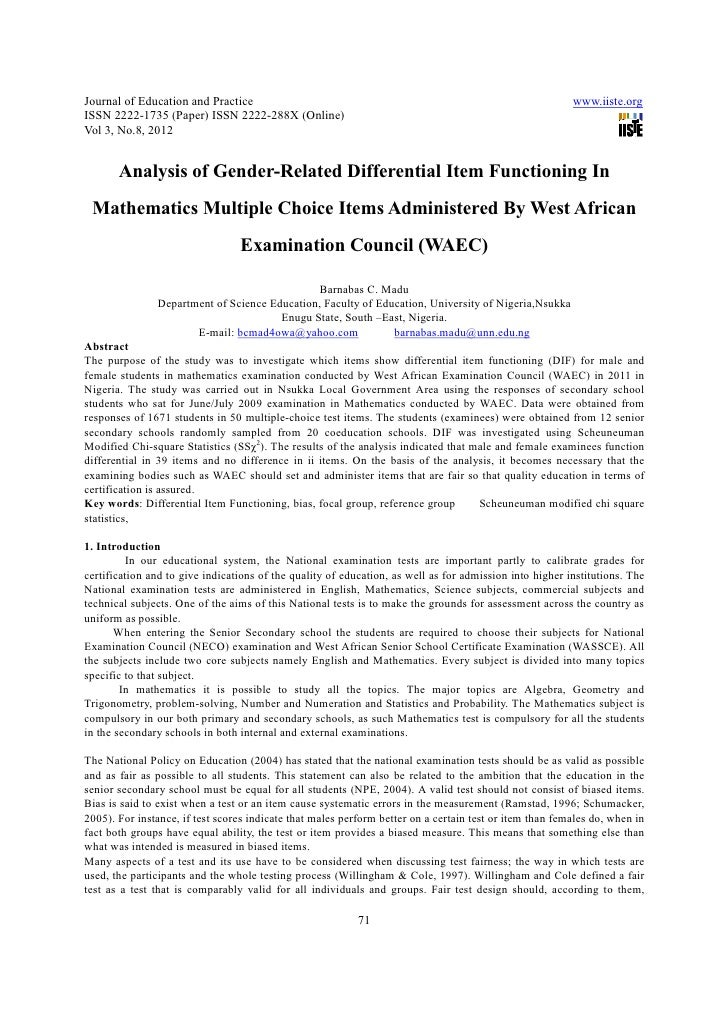 Analysis Of Gender Related Differential Item Functioning In Mathemati Journal Of Education And Practice