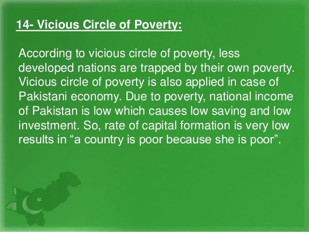 14- Vicious Circle of Poverty: According to vicious circle of poverty, less developed nations are trapped by their own pov...