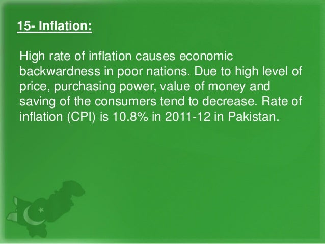 15- Inflation: High rate of inflation causes economic backwardness in poor nations. Due to high level of price, purchasing...