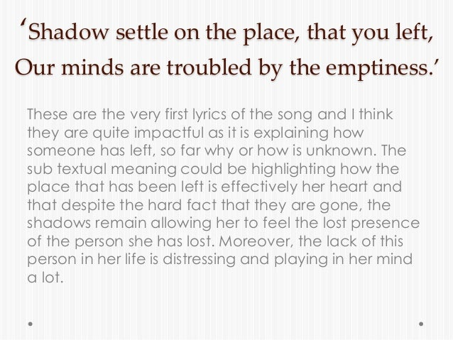Analysis Of Lyrics Youth By Daughter