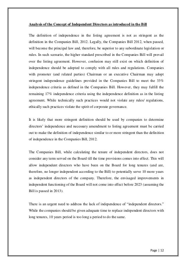 Analysis Of Major Changes Brought By Companies Bill 2012