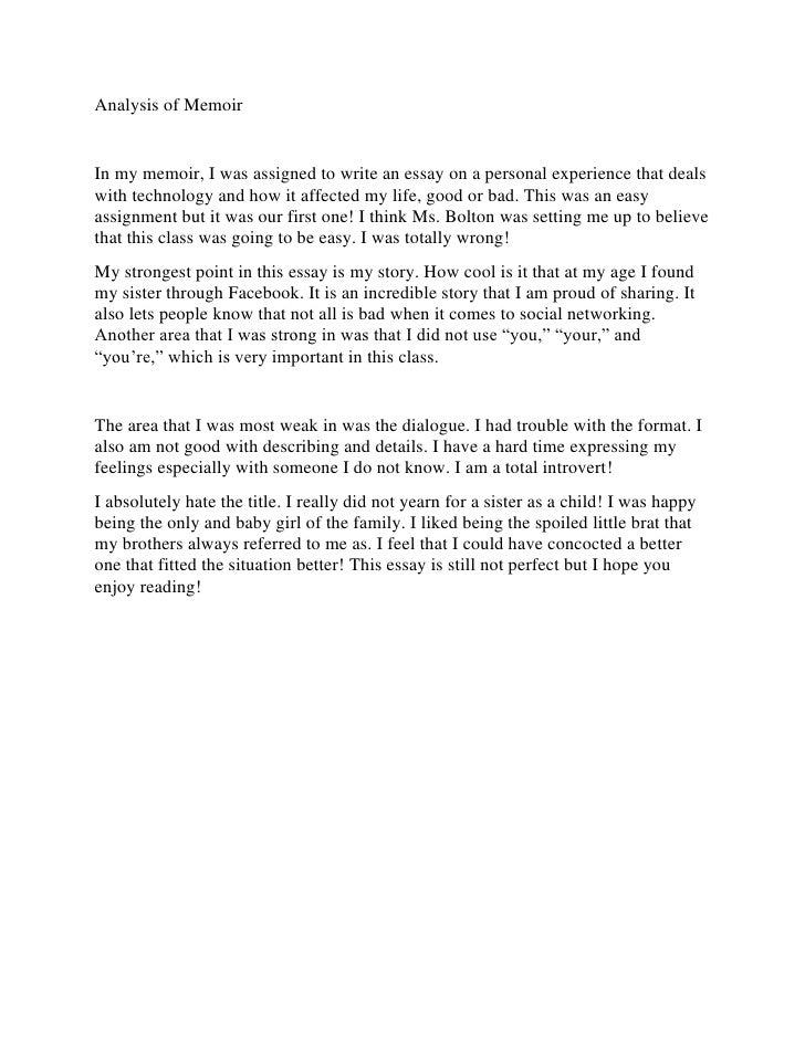 memoir analysis essay